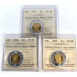 2007, 2008, 2009 Canada Silver $2 ICCS Certified PF-68 Ultra Heavy Cameo. 3pcs.