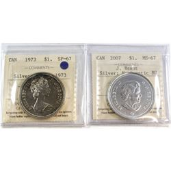1973 Canada 'Double 1973 ' Silver $1 SP-67 & 2007 Canada J. Brant Silver $1 MS-67 NBU. Both coins ha