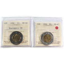 1998 Canada $2 ICCS Certified MS-66 NBU & 2006 Canada $2 ICCS Certified MS-65. 2pcs.