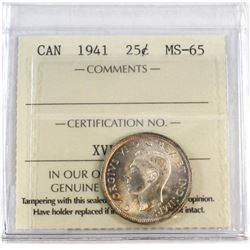 1941 Canada 25-cent ICCS Certified MS-65.