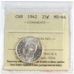 1942 Canada 25-cent ICCS Certified MS-64.
