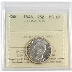 1946 Canada 25-cent ICCS Certified MS-64.