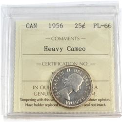 1956 Canada 25-cent ICCS Certified PL-66 Heavy Cameo.