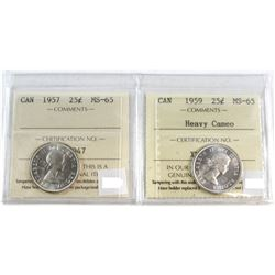 1957 & 1959 HC Canada 25-cent ICCS Certified MS-65. 2pcs.