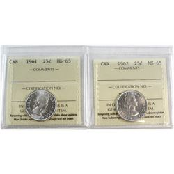 1961 & 1962 Canada 25-cent ICCS Certified MS-65. 2pcs.
