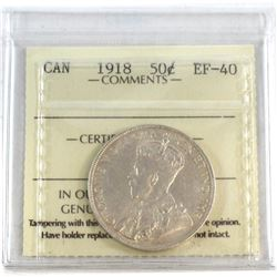 1918 Canada 50-cent ICCS Certified EF-40.