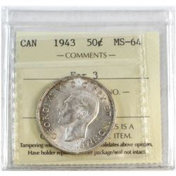 1943 Canada Far 3 50-cent ICCS Certified MS-64.