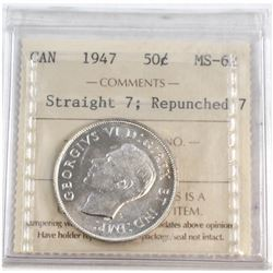 1947 Canada Straight 7; Repunched 7 50-cent ICCS Certified MS-62.