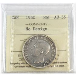 1950 Canada No Design 50-cent ICCS Certified AU-55.