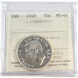1949 Canada 50-cent ICCS Certified MS-64.