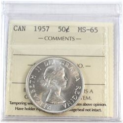 1957 Canada 50-cent ICCS Certified MS-65.