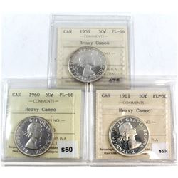 1959, 1960, 1961 Canada 50-cent ICCS Certified PL-66 Heavy Cameo. 3pcs.