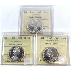 1954, 1965, 1967 Canada 50-cent ICCS Certified PL-66 Heavy Cameo. 3pcs.
