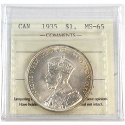1935 Canada Silver $1 ICCS Certified MS-65