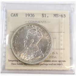 1936 Canada Silver $1 ICCS Certified MS-63.