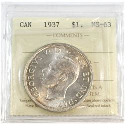 1937 Canada Silver $1 ICCS Certified MS-63.