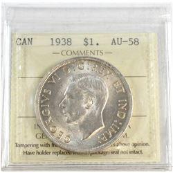 1938 Canada Silver $1 ICCS Certified AU-58