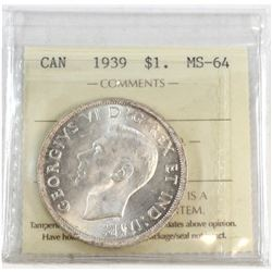 1939 Canada Silver $1 ICCS Certified MS-64