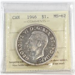 1946 Canada Silver $1 ICCS Certified MS-62.