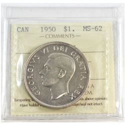 1950 Canada Arnprior Silver $1 ICCS Certified MS-62.