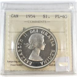 1954 Canada Silver $1 ICCS Certified PL-65 Heavy Cameo.