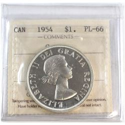1954 Canada Silver $1 ICCS Certified PL-66 Cameo.