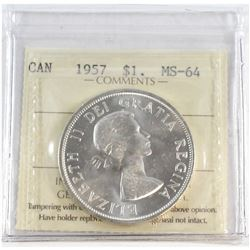 1957 Canada Silver $1 ICCS Certified MS-64.