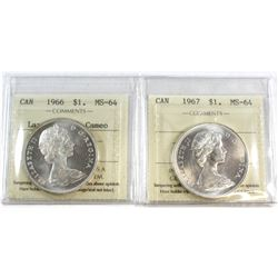 1966 Large Beads; Cameo & 1967 Canada Silver $1 ICCS Certified MS-64. 2pcs.