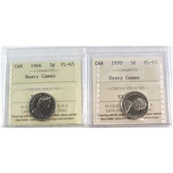 1966 & 1970 Canada 5-cent ICCS Certified PL-65 Heavy Cameo. 2pcs.