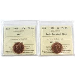 1971 & 1972 Rotated Dies Canada 1-cent ICCS Certified PL-65 Red (ICCS Error on 1971 Holder; labelled