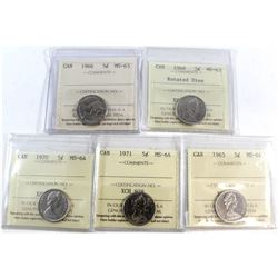 1965-1971 Canada 5-cent ICCS Certified Collection. You will receive a 1965 MS-64, 1966 MS-63, 1968 R