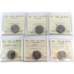1969-1978 Canada 5-cent ICCS Certified MS-65 Collection. You will receive a 1969, 1970, 1973, 1975 R