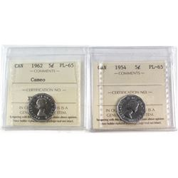 1954 & 1962 'Cameo' Canada 5-cent ICCS Certified PL-65. 2pcs.