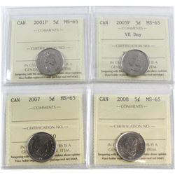 2001P, 2005P VE Day, 2007, 2008 Canada 5-cent ICCS Certified MS-65. 4pcs.
