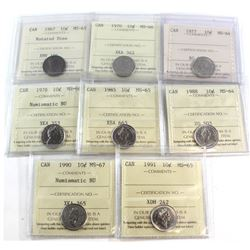 1967-1991 Canada 10-cent ICCS Certified Collection. You will receive a 1967 Rotated Dies MS-65, 1970