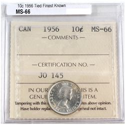1956 Canada 10-cent ICCS Certified MS-66.