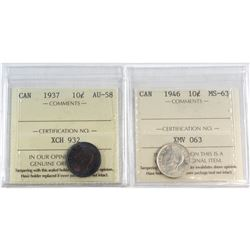 1937 Canada 10-cent ICCS Certified AU-58 & 1946 Canada 10-cent ICCS Certified MS-63. 2pcs.