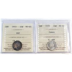 1953 NSF & 1955 Cameo Canada 10-cent ICCS Certified MS-65. 2pcs.