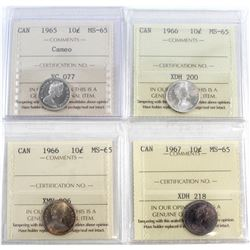 1965 Cameo, 2x 1966, 1967 Canada 10-cent ICCS Certified MS-65. 4pcs.