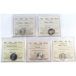 1964-1969 Canada 10-cent ICCS Certified MS-65 Collection. You will receive a 1964 Heavy Cameo, 1965