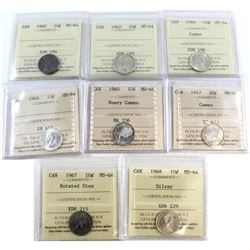 1960-1968 Canada 10-cent ICCS Certified MS-64 Collection. You will receive a 1960, 1962, 1964 Cameo,