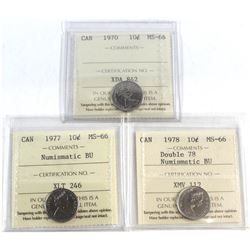 1970, 1977 NBU, 1978 Double 78 NBU Canada 10-cent ICCS Certified MS-66. 3pcs.