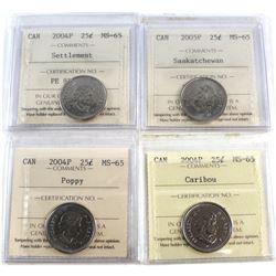 2004P Poppy, 2004P Caribou, 2004P Settlement, 2005P Saskatchewan Canada 25-cent ICCS Certified MS-65
