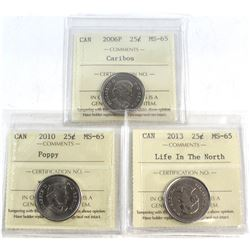 2006P Caribou, 2010 Poppy, 2013 Life in the North Canada 25-cent ICCS Certified MS-65. 3pcs.