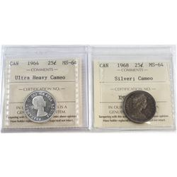 1964 Ultra Heavy Cameo, 1968 Silver Cameo Canada 25-cent ICCS Certified MS-64. 2pcs.