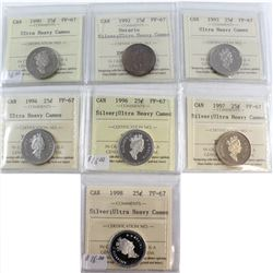 1990-1998 Canada 25-cent ICCS Certified PF-67 UHC Collection. You will receive a 1990, 1992 Silver O