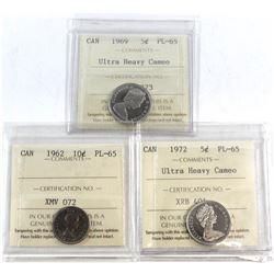 1962, 1969 UHC, 1972 UHC Canada 5-cent ICCS Certified PL-65. 3pcs.