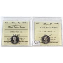 1985 & 1988 Canada 10-cent ICCS Certified PF-67 Ultra Heavy Cameo. 2pcs.