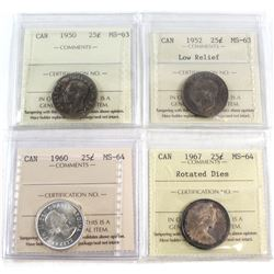 1950-1967 Canada 25-cent ICCS Certified Collection. You will receive the following, 1950 MS-63, 1952