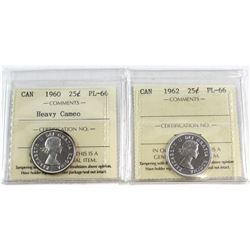 1960 Heavy Cameo & 1962 Canada 25-cent ICCS Certified PL-66. 2pcs.